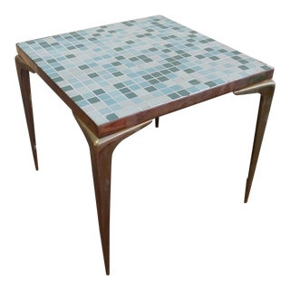Vintage 1960s Modern Brass & Tile Mosaic Table For Sale