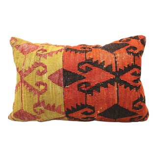 Vintage Flat Weave Lumbar Pillow For Sale