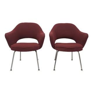 Saarinen for Knoll Executive Burgundy Chrome Base Armchairs - a Pair For Sale