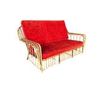 "Restored ""President's"" Art Deco Stick Rattan Loveseat Sofa For Sale"