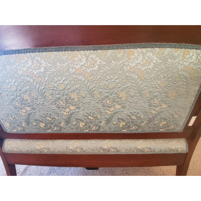 Antique Eastlake Blue Settee For Sale In Phoenix - Image 6 of 11