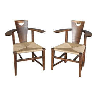Pair of Antique 19th Century Ash Abingwood Chairs by George Walton For Sale