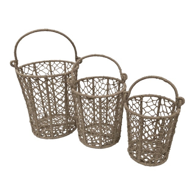 Vintage Handcrafted Woven Jute Rope Buckets - Set of 3 For Sale