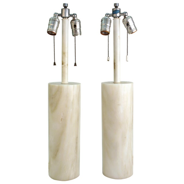 Mid-Century Modern Nessen Table Lamps in White Marble - a Pair For Sale - Image 13 of 13