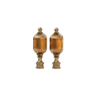 Ribbed Brass Lamp Finials - a Pair For Sale