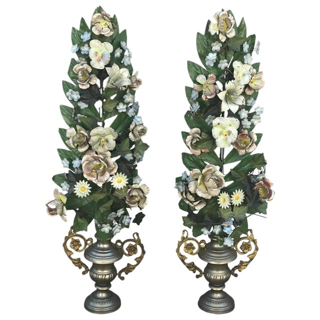 Pair of French Tole Flowers For Sale
