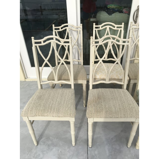 Vintage Thomasville Faux Bamboo Chinoiserie Hollywood Regency Chairs - Set of 10 For Sale - Image 10 of 11