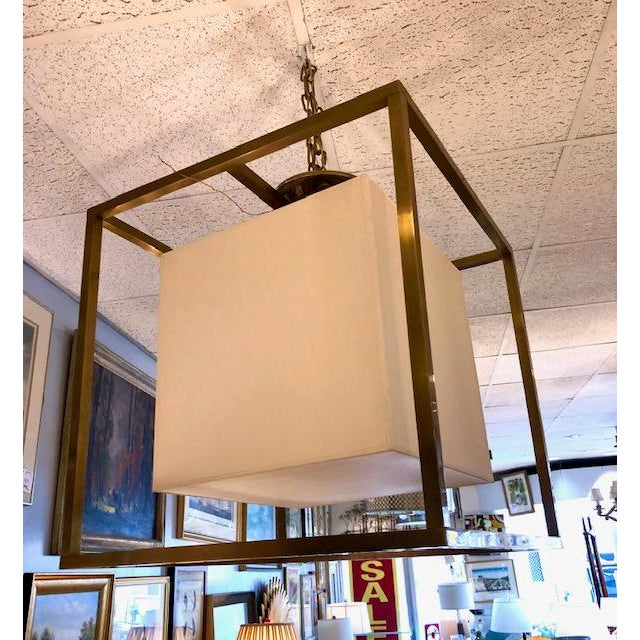 2020s Modern Square Brass Chandelier With Linen Shade For Sale - Image 5 of 6