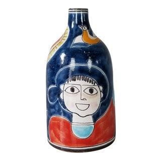 1970s Italian DeSimone Hand Painted Decorative Ceramic Pottery Vase For Sale