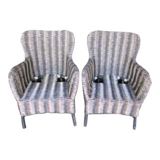 Vintage Wicker Chairs - a Pair Gray and White Stripe Pattern