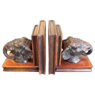 Bronze Elephant and Carved Wood Bookends - Pair For Sale
