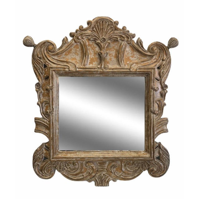 Hollywood Regency Late 20th Century Overscaled Hand Carved Wood Neoclassical Mirror For Sale - Image 3 of 13