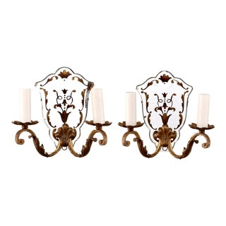 Italian Gilded Two Light Mirror Back Sconces - Pair For Sale