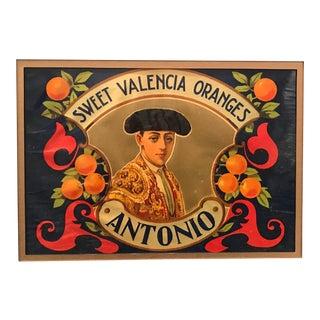 1920's Original Vintage Spanish Fruit Crate Label - Antonio - Sweet Valencia Oranges For Sale