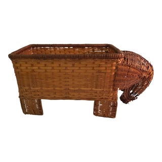 Vintage Shabby Chic Elephant Wicker Planter Box For Sale