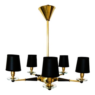 1950s Jacques Adnet French Brass Chandelier (Pair Available) For Sale