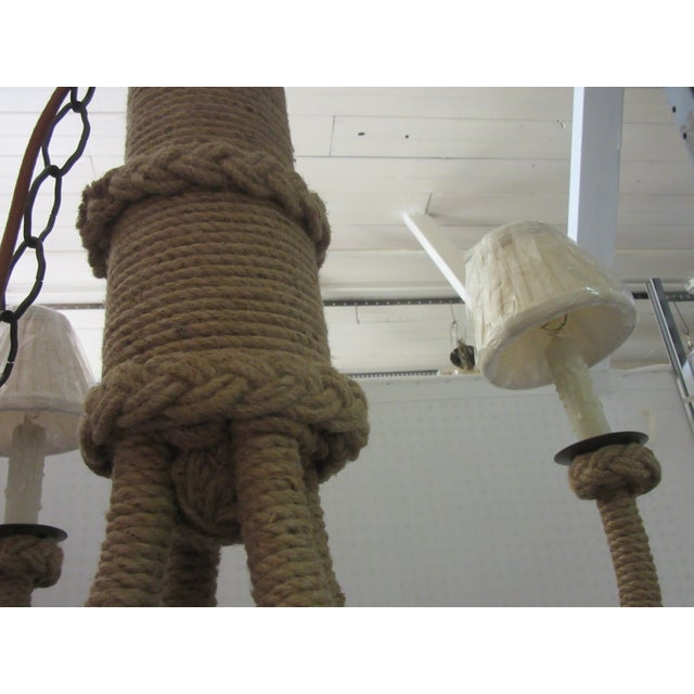 """Jamie Young Brand New Jute/Rattan nautical rope Chandelier with 93"""" chain so it can easily be swagged. It can also be..."""