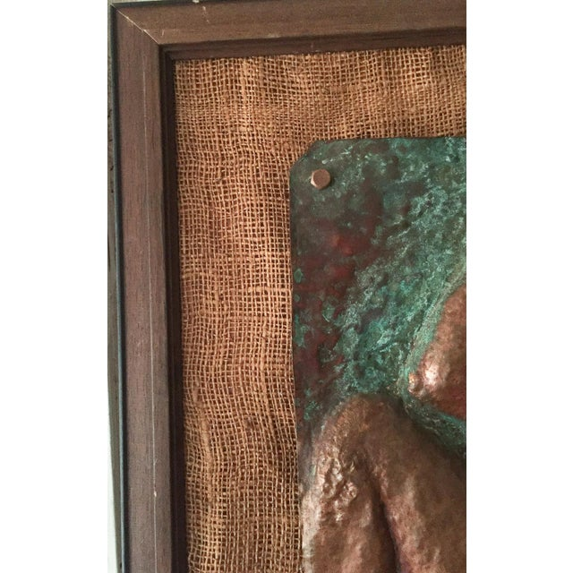 Copper Mid-Century Nude Woman Copper Relief Art For Sale - Image 7 of 8