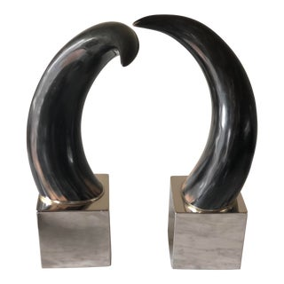 Modern Ethan Allen Decorative Horns on Chrome Base - a Pair