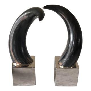 Modern Ethan Allen Decorative Horns on Chrome Base - a Pair For Sale