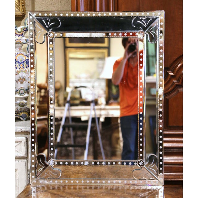 Mid-20th Century Italian Overlay Venetian Mirror With Painted Floral Etching For Sale - Image 9 of 9