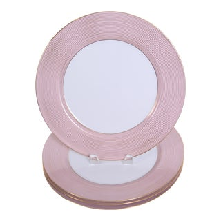 1970s Fitz and Floyd Service Plate (Charger) Rondelle Pink - Set of 4 For Sale