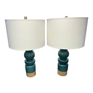 West Elm Modern Turquoise Totem Table Lamps With Round Shades - a Pair For Sale