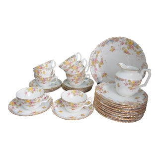 Antique English Hand-Painted Tea Service - Sets of 9 Trios & Platter
