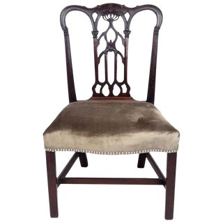 18th Century English Gothic Chippendale Mahogany Side Chair in Grey Velvet For Sale