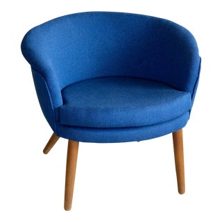 Nanna Ditzel Style Danish 1950s Lounge Chair Newly Reupholstered in Wool For Sale
