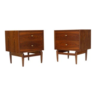 Diamond Pattern Cube Shape Walnut End Tables Stands Solid Sculptural Legs Pair For Sale