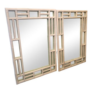 Large White Vintage Bamboo Mirrors - a Pair For Sale
