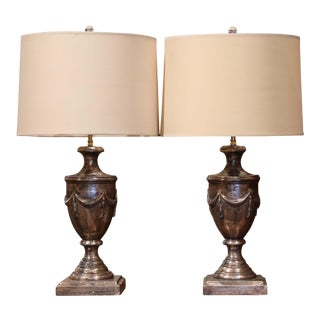 Large Pair of Italian Carved and Silver Leaf Urn Shape Two-Light Table Lamps For Sale