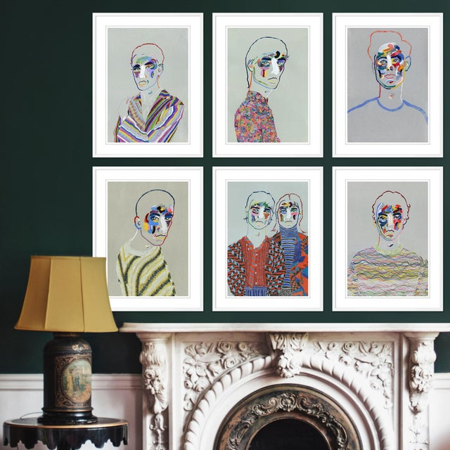DESCRIPTION: Set of 6 Portraits by Robson Stannard in Black Frame, XS Art Prints SPECIFICATIONS: Type: Giclée Art Print....