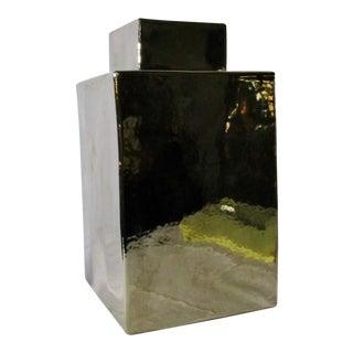 Modern Metallic Glaze Rectangular Ginger Jar For Sale