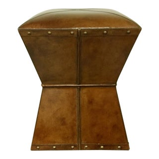 Leather Upholstered Square Stool