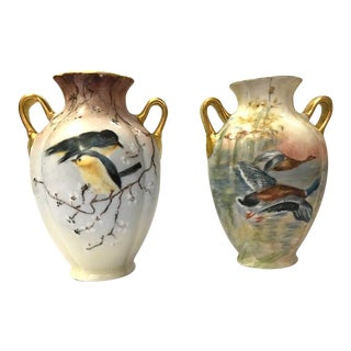 Early 20th Century Hand Painted Noritake Nippon Vases With Birds - a Pair For Sale