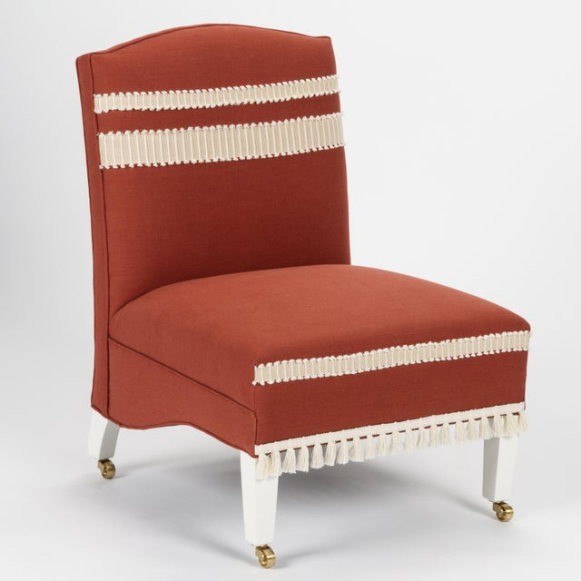 Not Yet Made - Made To Order Casa Cosima Sintra Chair in Paprika Linen, a Pair For Sale - Image 5 of 11