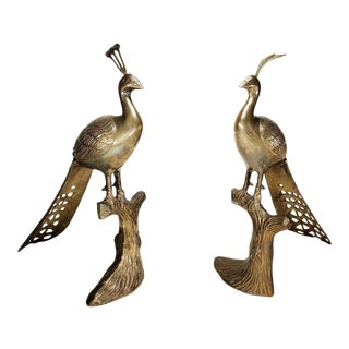 Hollywood Regency Brass Peacocks on a Branch Style of Willy Daro - a Pair For Sale