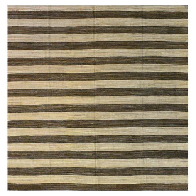 New Afghan Striped Kilim Rug - 13'6''x12'8'' For Sale - Image 4 of 4