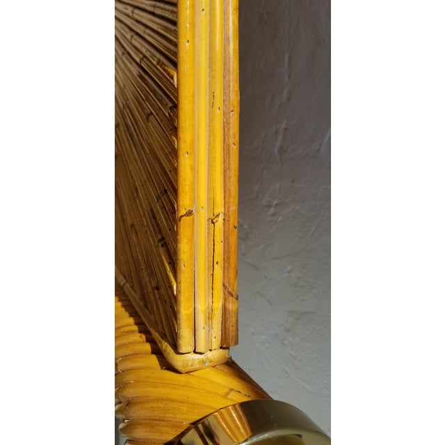 Bamboo 1970s Vintage Marcello Mioni Pencil Reed Rattan & Brass King Bed Frame For Sale - Image 7 of 12