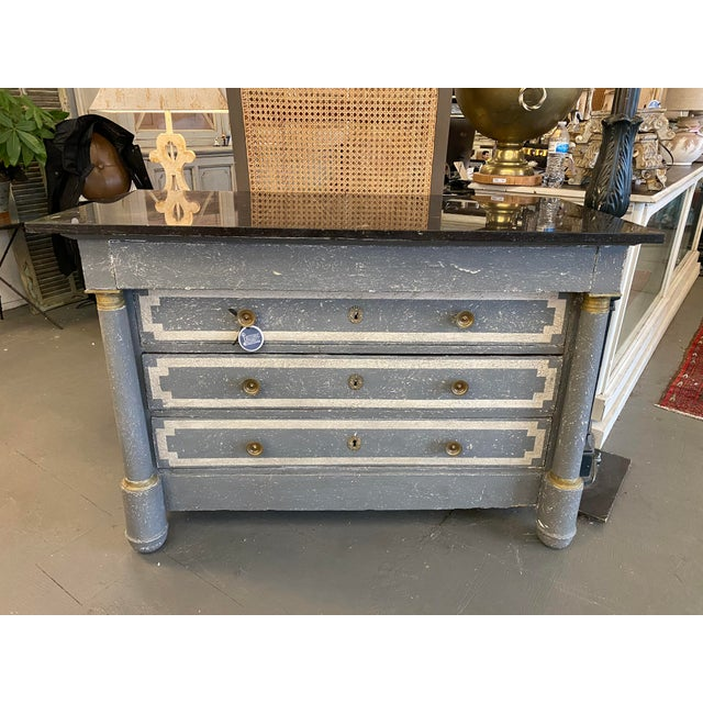 19th Century French Empire Neoclassical Painted Commode For Sale - Image 12 of 13
