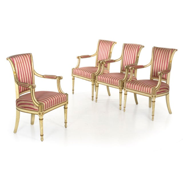 Set of Four Neoclassical White-Painted French Accent Arm Chairs, 19th Century For Sale - Image 13 of 13
