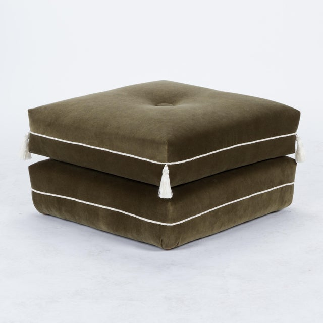 English Traditional Casa Cosima Turkish Ottoman in Olive Velvet, a Pair For Sale - Image 3 of 6