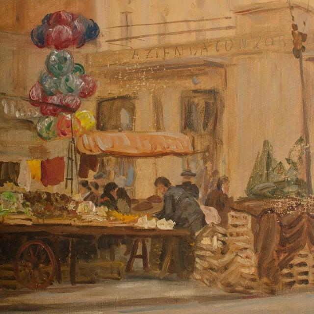 "1940s ""Market in Milan"" Street Scene Oil Painting by Joshua Felise Ziro Brevio For Sale - Image 11 of 13"