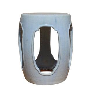 Chinese Round Barrel Pale Light Blue Ceramic Clay Garden Stool