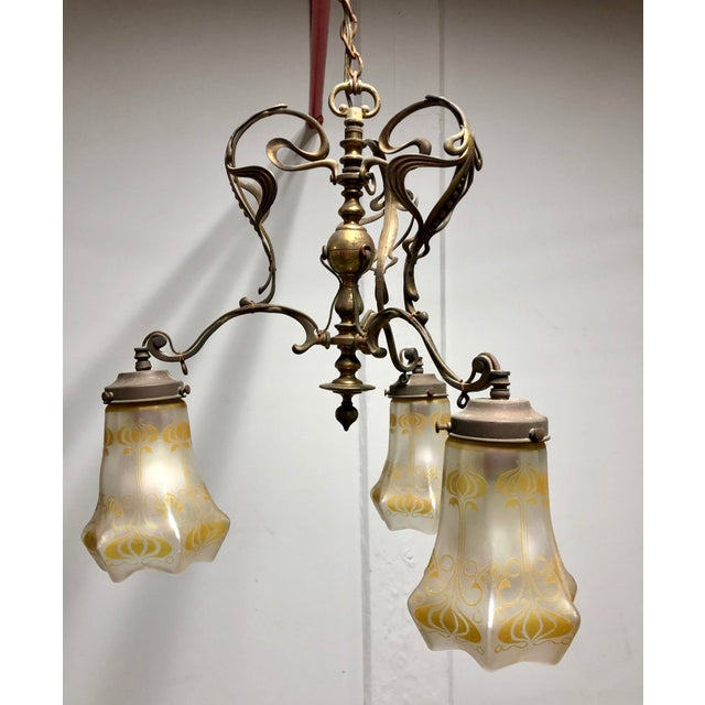 Antique Art Nouveau Brass 3-Shade Chandelier For Sale In New York - Image 6 of 13