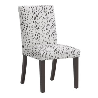 Linen Leopard Ink Dining Chair For Sale