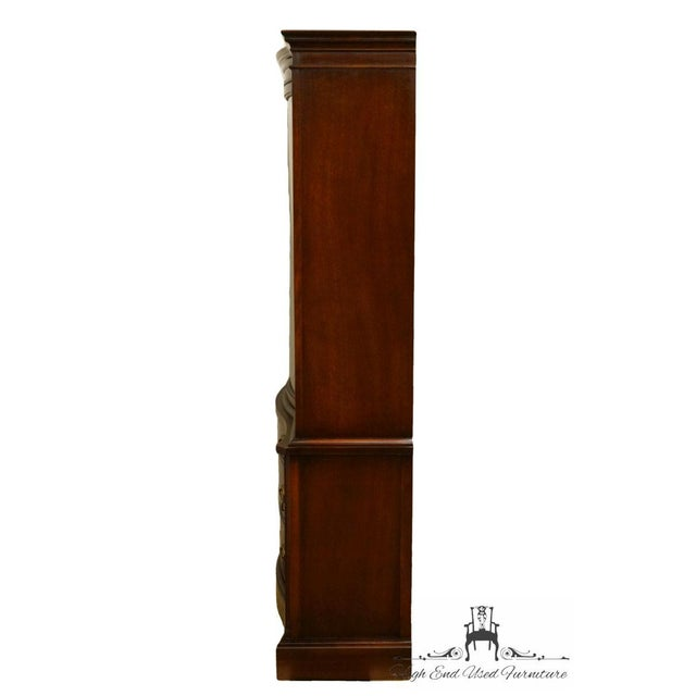 20th Century Traditional Bassett Furniture Old Shirley Collection Bow Front China Display Cabinet For Sale - Image 9 of 13