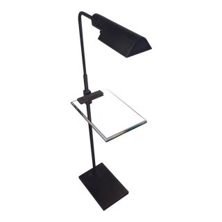 Late-20th Century Vintage Casella Gunmetal and Cut Glass Floor Lamp For Sale